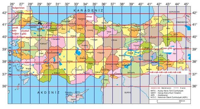 türkiye'nin konumu, türkiye'nin mutlak konumu, koordinat sistemi, türkiye'nin coğrafi konumu